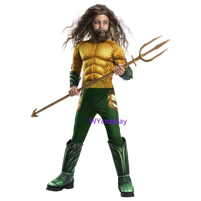 Disfraz de Aquaman dorado para niños, disfraz de músculo, superhéroe, Halloween