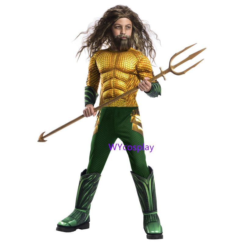 New Aquaman Costume Kids Gold Aquaman Muscle Cosplay Costume For Boys Superhero Costumes For Children Halloween Costume For Kids in Boys Costumes from Novelty Special Use