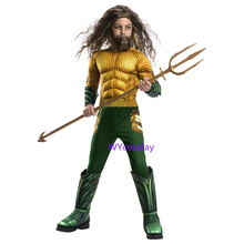 New Aquaman Costume Kids Gold Aquaman Muscle Cosplay Costume For Boys Superhero Costumes For Children Halloween Costume For Kids