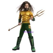 New Aquaman Costume Kids Gold Muscle Cosplay For Boys Superhero Costumes Children Halloween