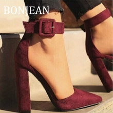 купить BONJEAN High Heel Shoes for Women 2019 Fashion Summer Sandals Fashion Pointed Toe Pumps Buckle Strap Wine Red Shoes BJ1304 по цене 1885.57 рублей