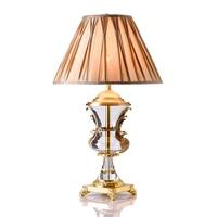 Современные светодиодный Кристалл Настольная лампа Медь Спальня прикроватные освещение декоративный, настольный, светодиодный Li Ghts ткане
