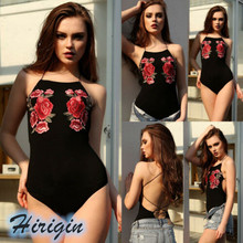 Summer Bodysuits Hot Women Summer Sexy Sleeveless Bandage Backless Bodysuit Black Floral Print Bodysuits недорого