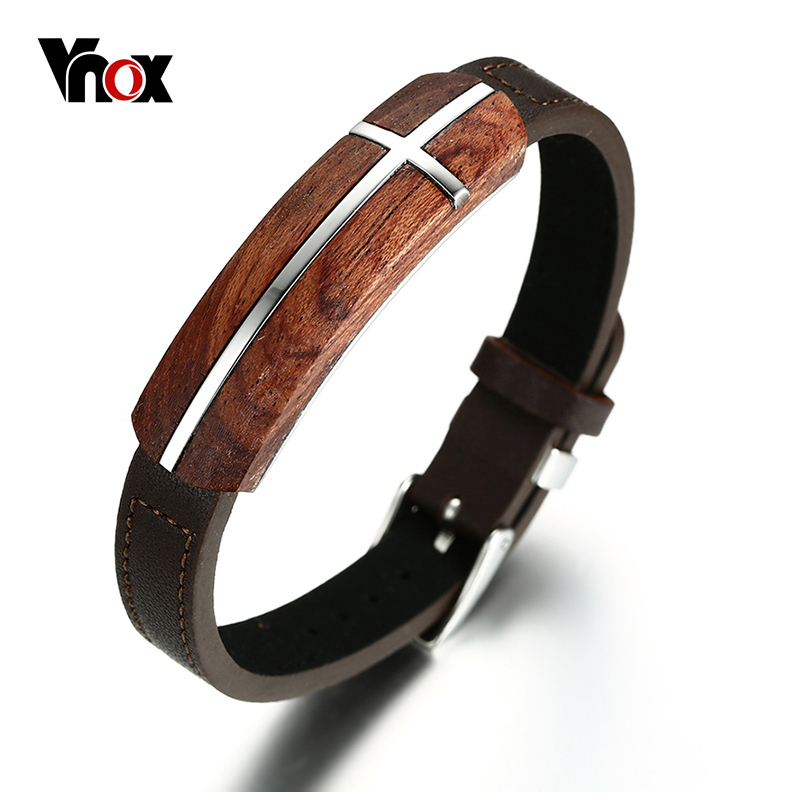 Vnox Genuine Rosewood Leather Bracelet for Men Watch Clasp Design Brand Jewelry