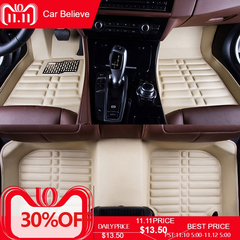 Car Believe car floor Foot mat For mitsubishi outlander 2008 3 xl pajero 4 asx lancer 2010 waterproof accessories carpet fully enclosed trunk mat for mitsubishi outlander xl pajero sport lancer car accessories car mats