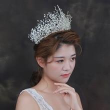 Diadema grande de lujo para niña, corona de cristal con diamantes de imitación, accesorios para el cabello de boda, tocado nupcial, joyería hecha a mano