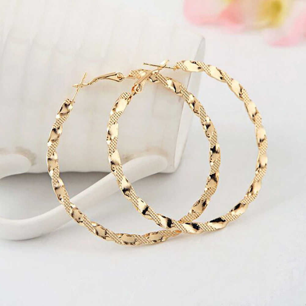 Women's Silver Gold Color Twist Big Round Circle Dangle Hoop Earrings Rings Fashion Ladies Metal Ladies Hoop Earrings Jewelry