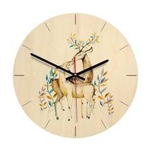 2e4d37037 1 قطعة الحديثة الكرتون خمر أنيقة الغزلان خشبية ساعة حائط أزياء الجدار ووتش  فريد هدية لغرفة النوم غرفة المعيشة مكتب المنزل