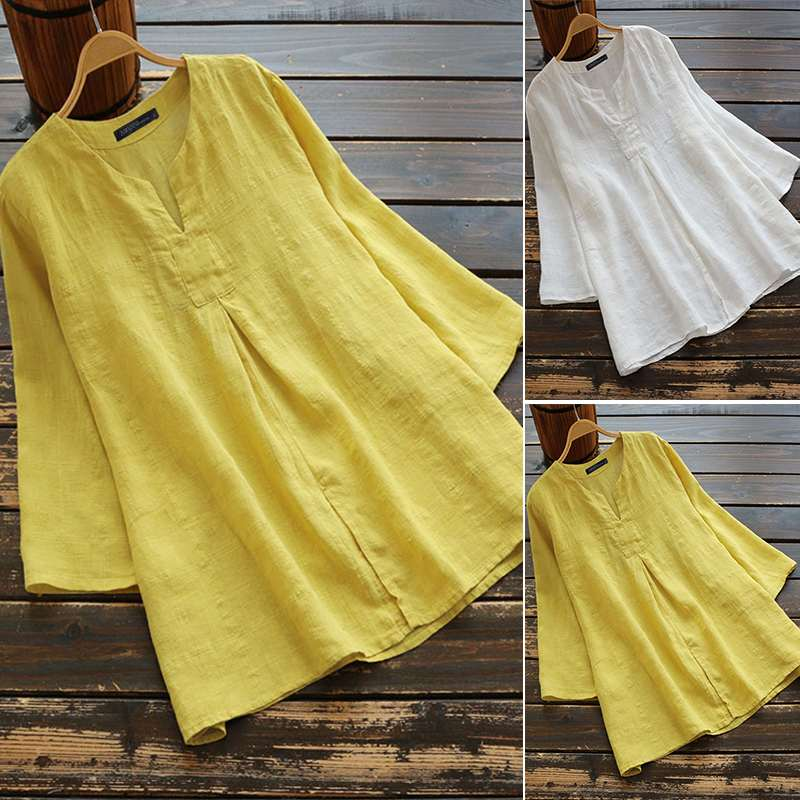 Женская блузка ZANZEA, повседневная однотонная блузка из хлопка и льна для работы и офиса, 2019|Блузки и рубашки|   | АлиЭкспресс