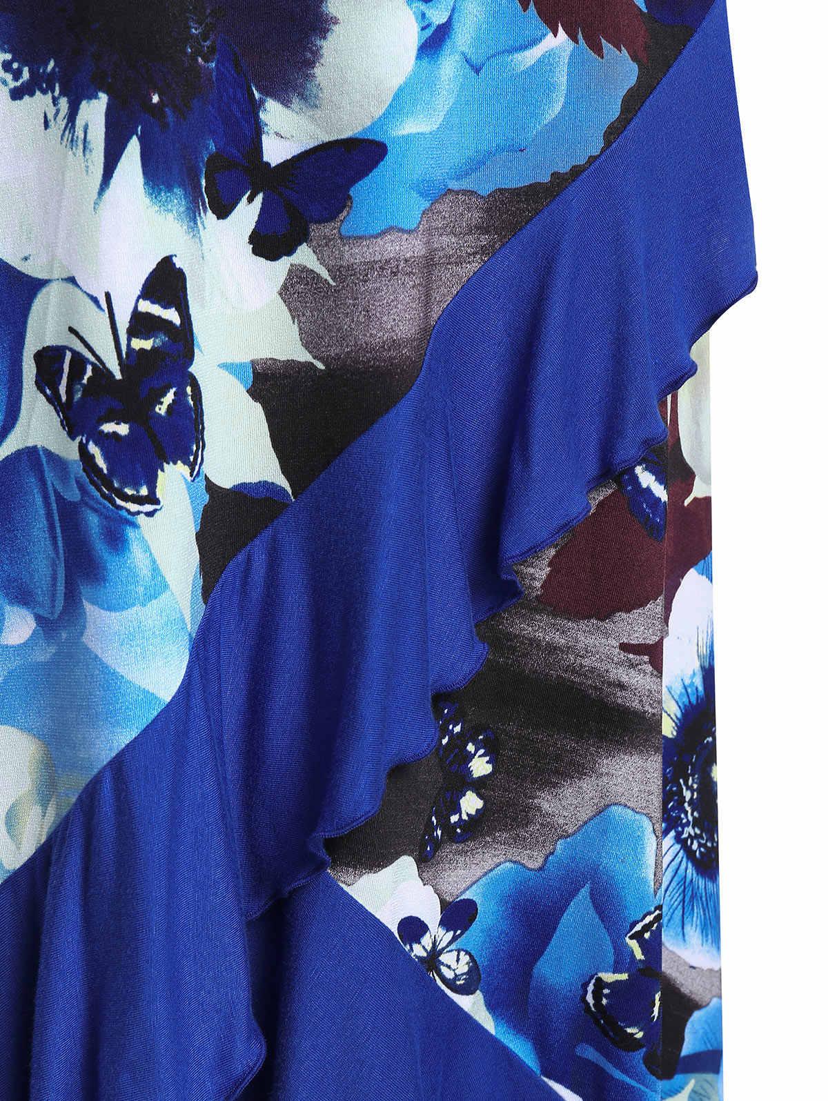 Wisalo/большие размеры; модная Толстая юбка с открытым плечом и цветным блоком; летнее платье на тонких бретельках с оборками; 5XL