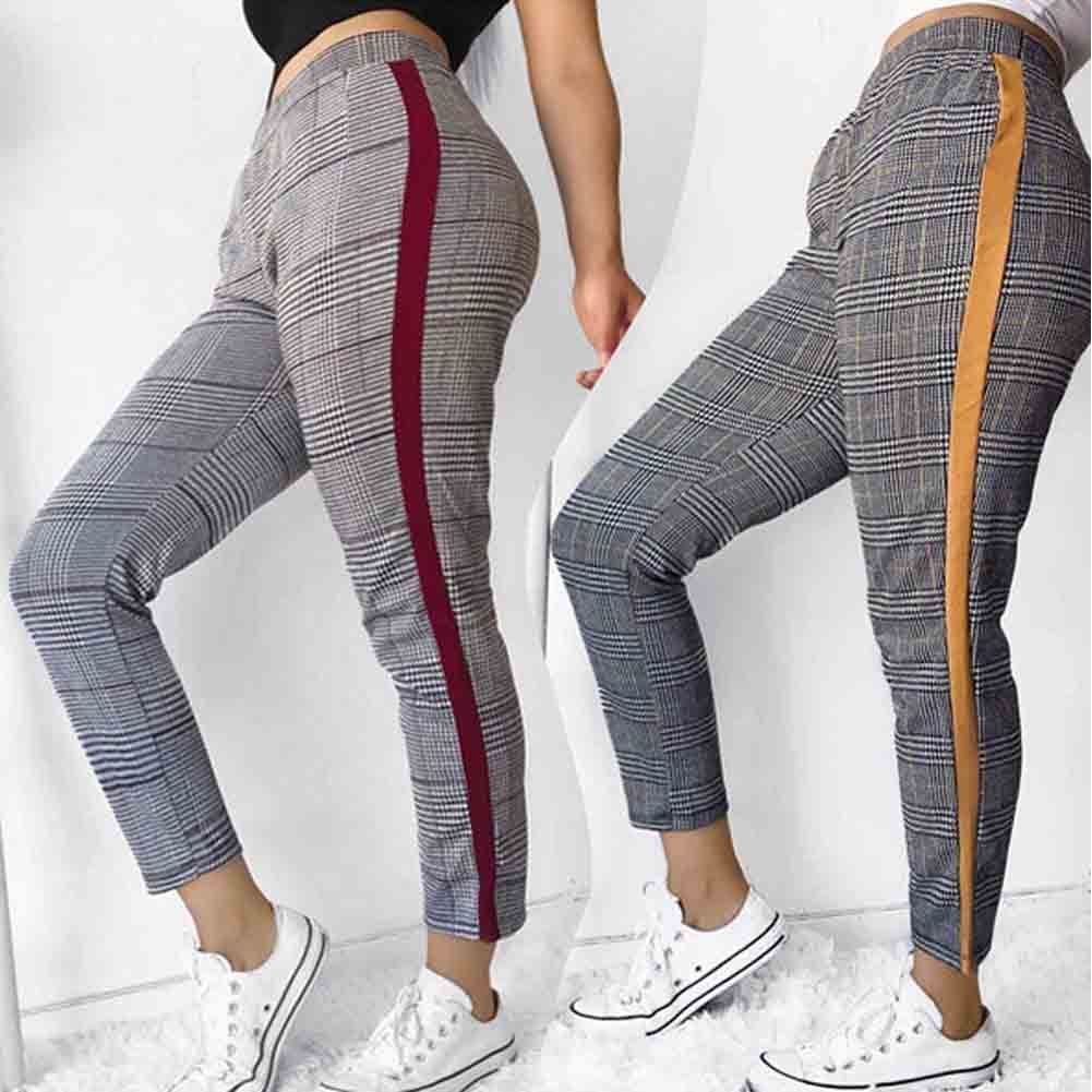 Women Leggings New Skinny High Waist Trousers Plaid Stretchy Pencil Pants Legging