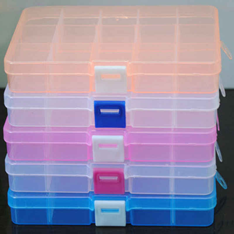 New 15 Grids Jewelry Nail Art Beads Tool Craft Adjustable Translucent Organizer Storage Box Case Bin