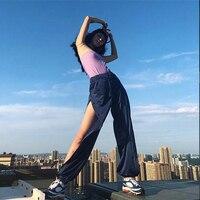 Women Snap Button Track Pants Mesh Transparent Joggers Side Open High Split Trousers Female Sweatpants Leisure Pantacourt Hippie