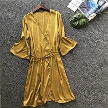2019 Summer Sexy Wedding Dressing Gown Women Satin Bride Robe Silk Kimono Half Sleeve Bathrobe Summer Bridesmaid Nightwear