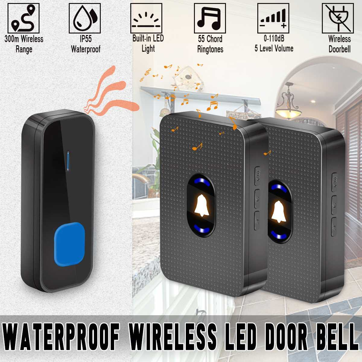 Wireless LED  IP55 Waterproof Door Bell Cordless 1000ft/300M Range 55 Chime Doorbell UK/EU/US Plug 110-260V For Villas Hotels