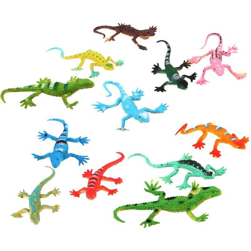 12 Pcs Mini Simulation Lizard Model Set Plastic Figures Kids Toy Multi-Color Child Education Props Rainforest Animal Home Decor