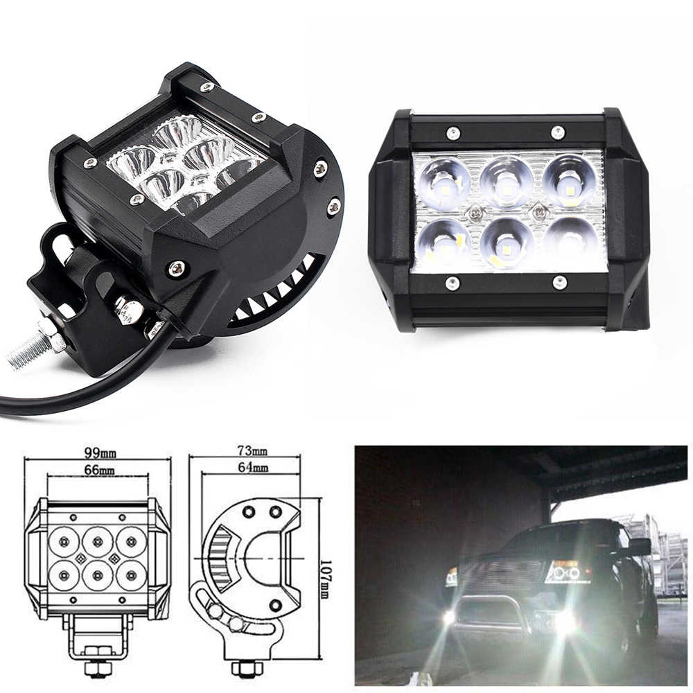 """4 """"18 W LED Kerja Lampu Bar Beam Spot Offroad Mengemudi Lampu Kabut SUV ATV 4WD Idem 6000 K depan Fog Lamp untuk Mobil LED Lampu Trailer"""