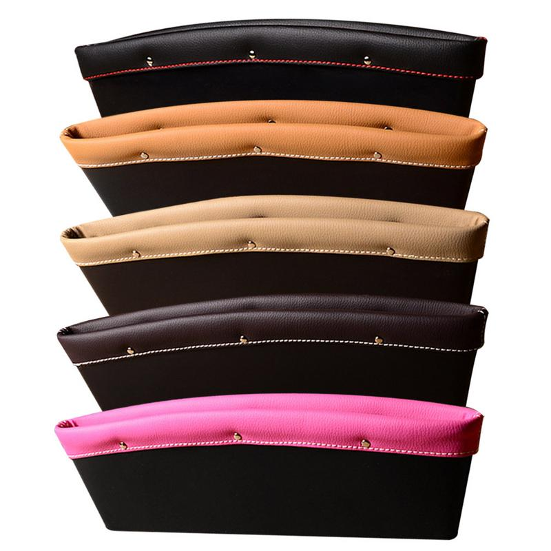 Car Seat Gap Filler 2PCs Anti-shedding Side Drop Stopper Storage Bag Thickened PU Full Leather Organizer Auto Accessories