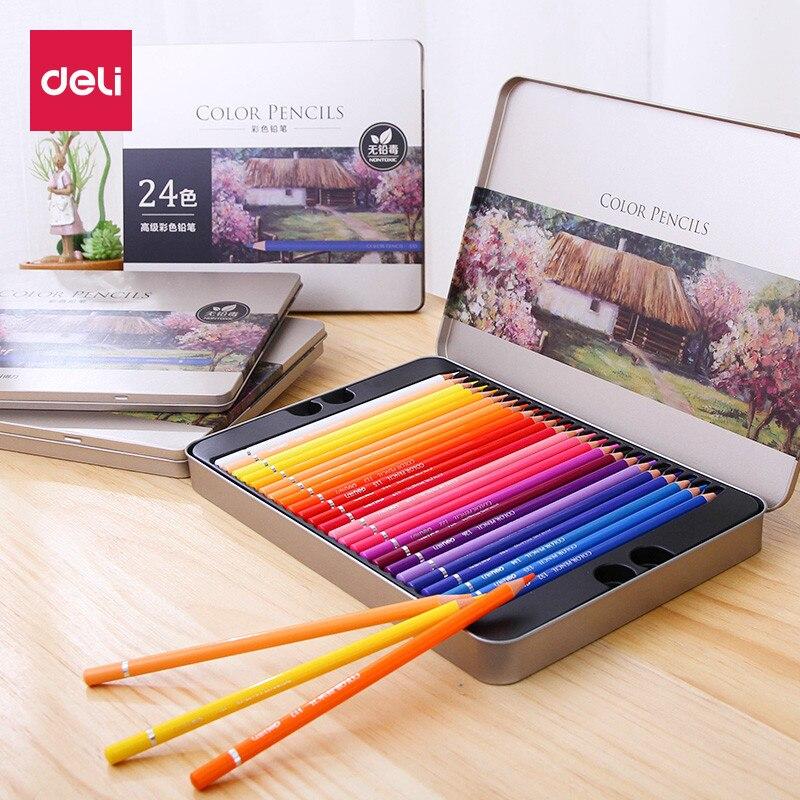 Deli 24/36/48/72 colores profesional Color de aceite lápices de Color, dibujo a lápiz juego suministros arte para el artista dibujo Manga diseño