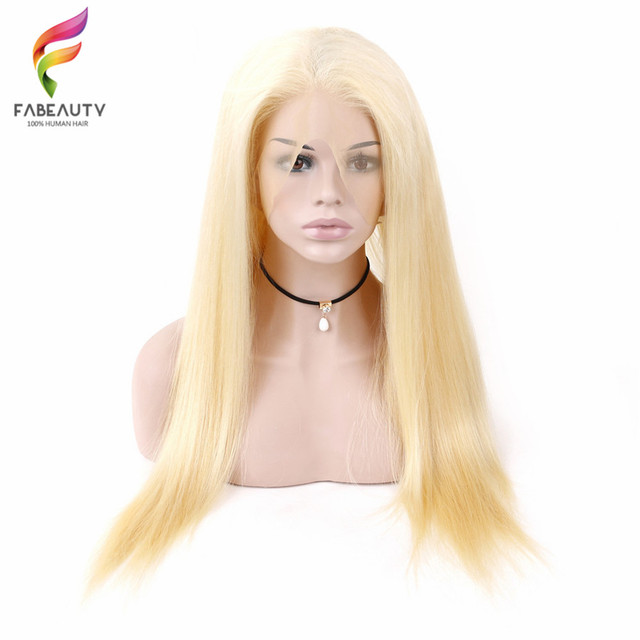 #613 Blonde Full Lace Wig Pre Plucked With Baby Hair Straight Brazilian Blonde Full Lace Human Hair Remy Wigs 8-26 Inch Long Wig 2
