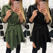 2018 Shirt Dress Women Sash Long Sleeve Mini Dress Button Irregular Bandage Turn Down Collar Office Dress long sleeve button down mini shift dress