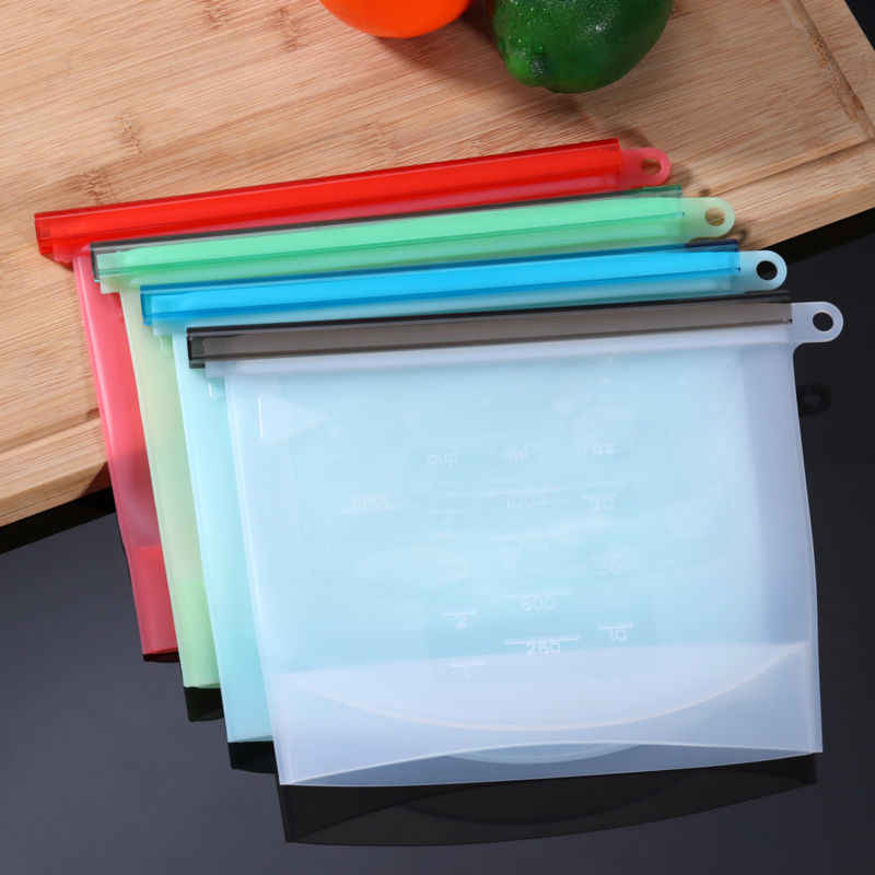 Reusable Seal Silicone Food Fresh Bag Vacuum Sealer Fruit Meat Milk Storage Bag
