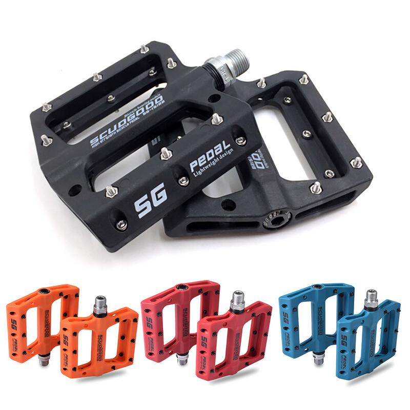 High Quality Portable Mountain Bike Bicycle Pedals Nylon Fiber 4 Colors Big Foot Road Bike Bearing