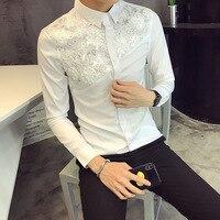 Men Lace Shirt Designer Wedding Long Sleeve Shirts Men Fashion Tuxedo Shirts Social Club Party Club Black White Dress Shirts