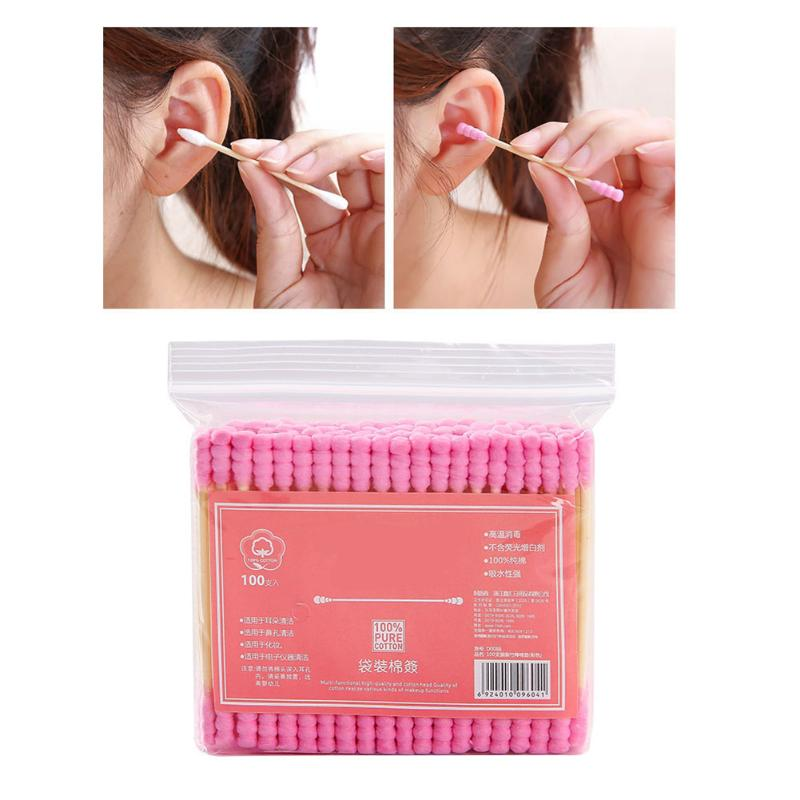 100pcs/pack Cotton Swab Double Head Women Makeup Cotton Buds Tip For Medical Sticks Nose Ears Cleaning Health Care Tools