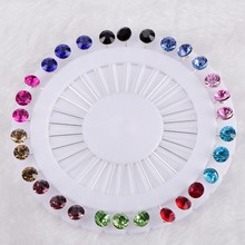 New Hijab Pins Wholesale 30PCS Flower Crystal Muslim Brooches For Women Safety Scarf Silver Mix Color