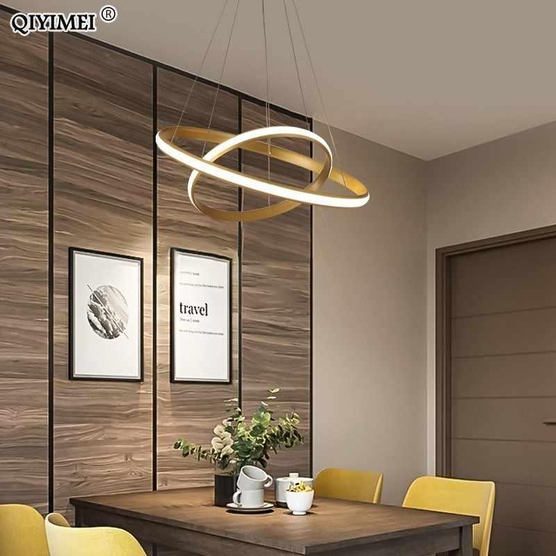 Новый современный светодиодный подвесной светильник для гостиной, столовой, Черный Белый Золотой, кофейные кольца, алюминиевый корпус, потолочные светильники для помещений