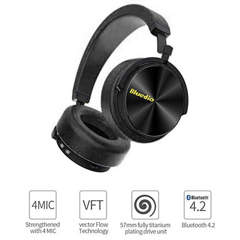 Nouveau casque de mode Bluedio réduction de bruit Active casque de sport sans fil Bluetooth casques stéréo portables basse avec micro