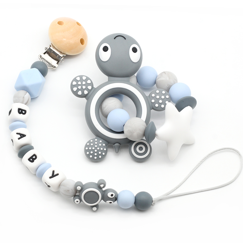 Tortoise Silicone Baby Pacifier Clip Personalised Name Pacifier Chain Holder Baby Rattles Teething Soother Chew Toy Dummy ClipsTortoise Silicone Baby Pacifier Clip Personalised Name Pacifier Chain Holder Baby Rattles Teething Soother Chew Toy Dummy Clips
