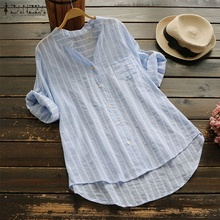 2019 Women's Summer Blouse ZANZEA Casual 3/4 Sleeve Striped Shirt Female Work Blusa Ladies Sexy V Neck Shirts Cotton Linen Top