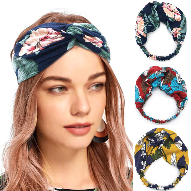Headwrap Stretch Bohemia Women Headbands 1PC Cotton Wide   Headwear   Hot Sale Hair Bands Bandage Turban Hair Accessories Headpiece