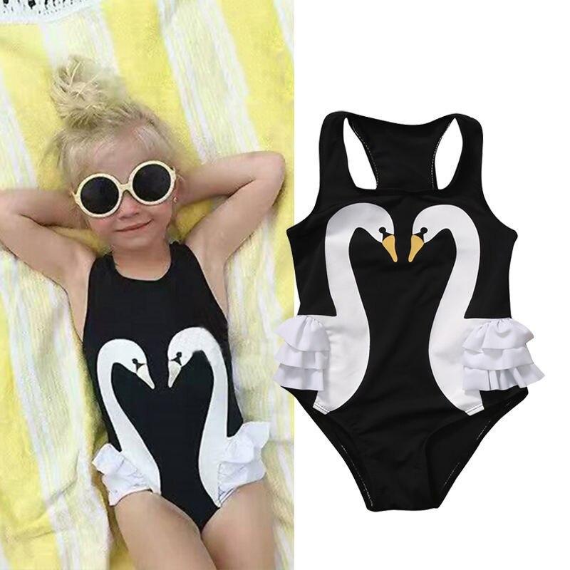 Brand New Toddler Infant Baby Kid Girl Tutu Swimsuit Swimwear Ruffle Bikini Skirt Bathing Suit Children Black Swan Swimwear 2-7T