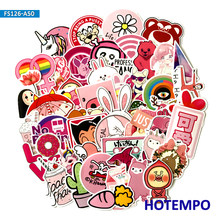 50pcs Funny Pink Girls Cute Cartoon Stickers for Scrapbooking Mobile Phone Laptop Luggage Suitcase Skateboard Lovely Stickers(China)