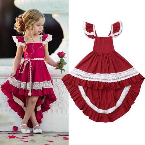 UK Kids Baby Girls Princess Dress Wedding Bridesmaid Pageant Party Bow Dresses