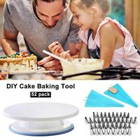 52 Piece Cake Decorating Supplies Turntable Piping Tip Nozzle Pastry Bag Set DIY Cake Baking Tool