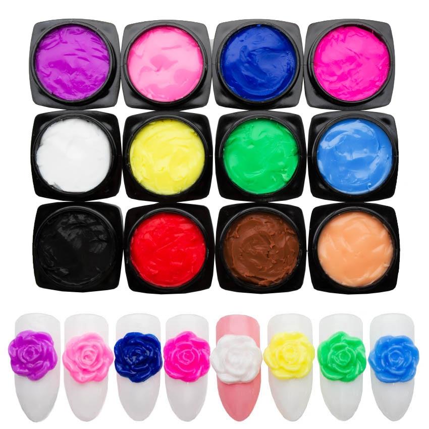 12 Color Carved Patterns 3D Nail Gel Varnish Plasticine For Nails Carved Gel For Modeling Sculpture Gel Paint Lacquer ZJJ2012