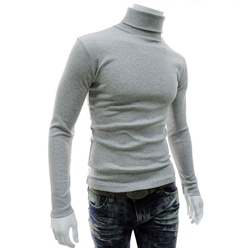 Warm Autumn Winter Mens Thermal Sweater Green Burgundy White Black Gray Turtleneck Pullover Stretch Soft Thin Sweater