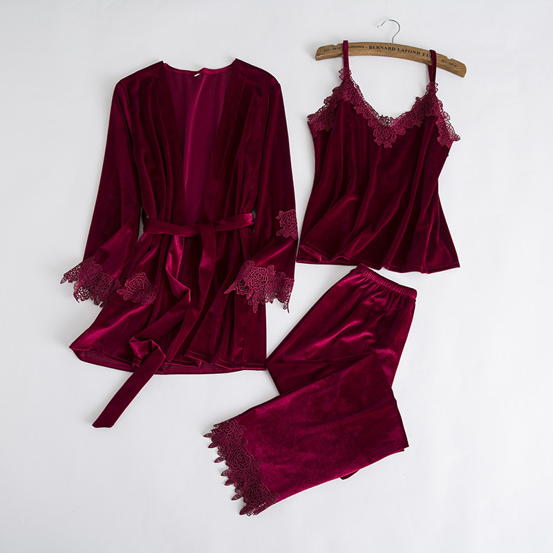 Lisacmvpnel Autumn And Winter New Flannel 3 Pcs Pajama Set Sexy Lace keep Warm Pyjama For Women