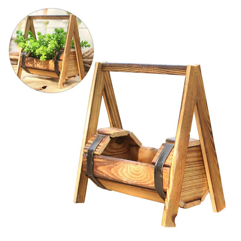 Excellent Us 8 91 22 Off Pastoral European Wooden Rocking Chair Flower Basket Swing Succulent Pot Living Room Table Ornaments Home Plant Decorations In Party Gamerscity Chair Design For Home Gamerscityorg