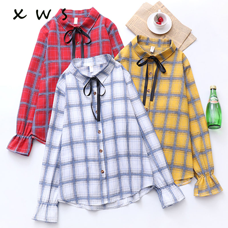 7785d310543 Detail Feedback Questions about 2019 New Brand Women Blouses Long Sleeve  Shirts Cotton Red and Black Flannel Plaid Shirt Casual Female Plus Size Blouse  Tops ...