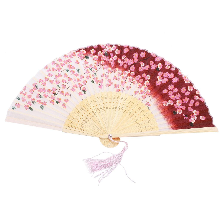 Hot Sale Sakura Flower Print Dancing Fan Summer Women Girl Delicate Elegant Folding Hand Fans