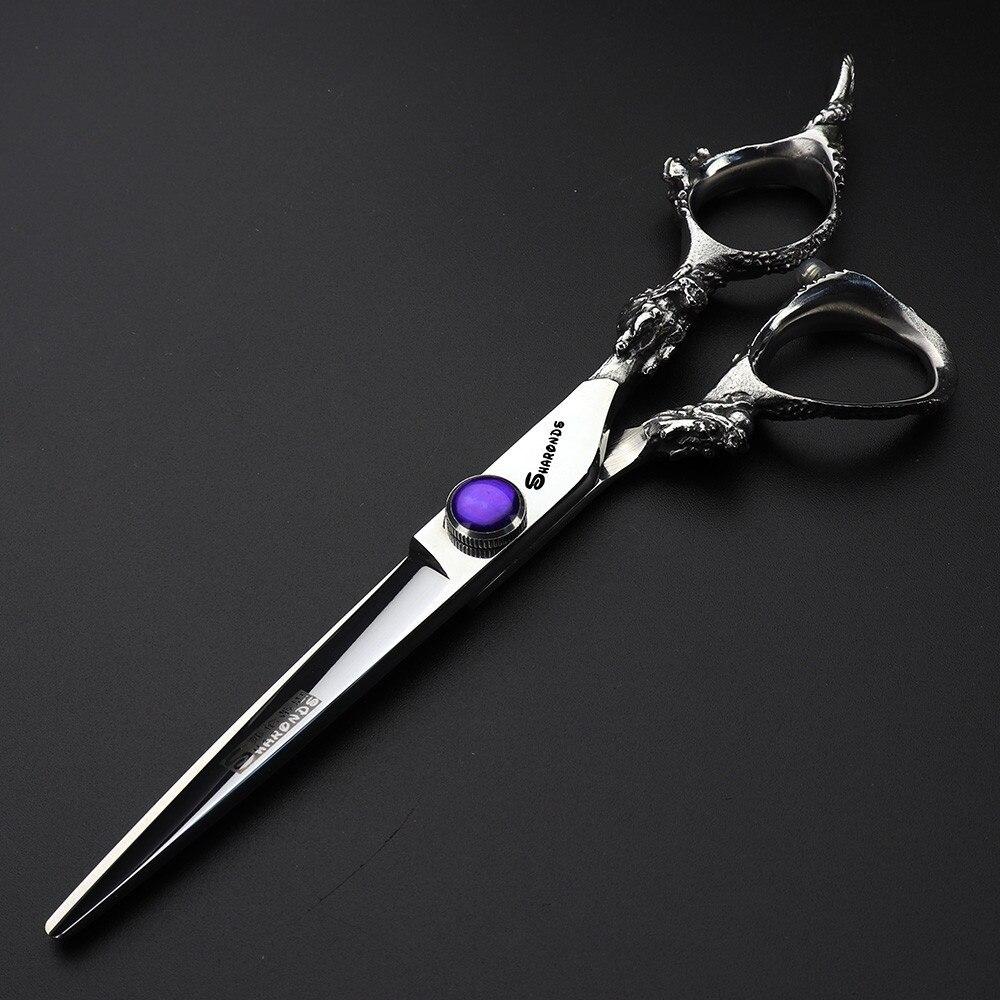Купить с кэшбэком Silver dragon barbershop hairdressing scissors hair professional sapphire high quality steel cutting thinning shear kit tesoura