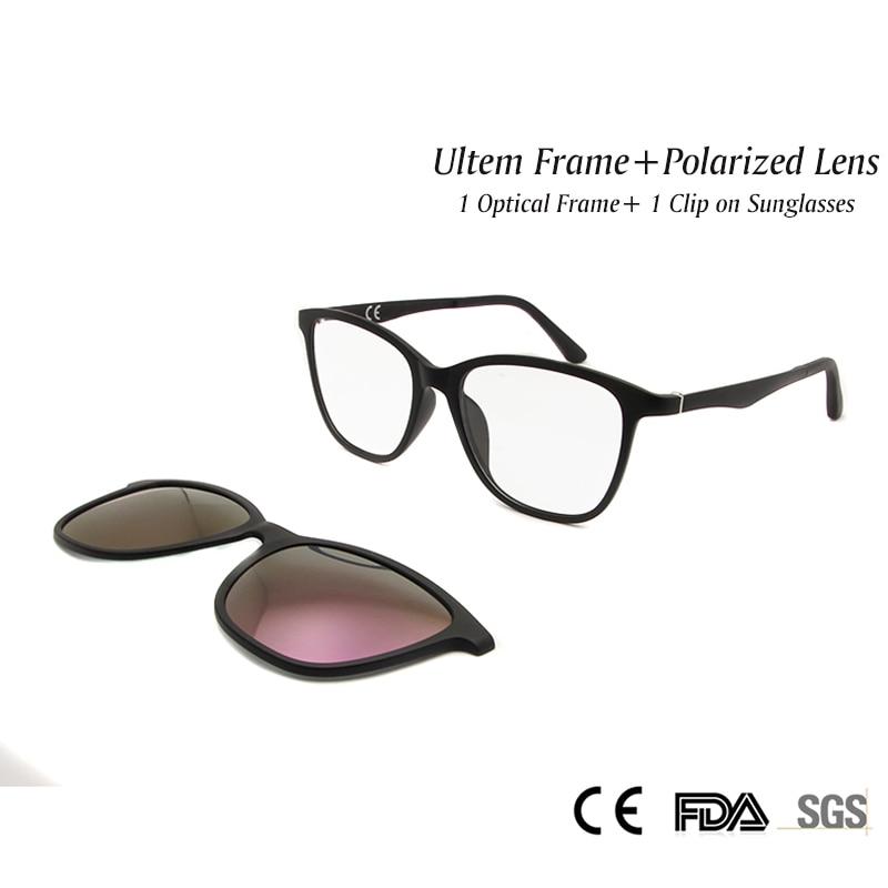 0e8cb4c6da ESNBIE High Quality Ultem Optical Frame Women with Polarized Clip On  Sunglasses Magnet Purple Lens Women s Glasses UV400 -in Eyewear Frames from  Apparel ...