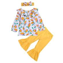 d77aefafdb 3pcs Kids Girl Fruit Print Ruffle Boat Neck T-shirt Pants Flare Trousers  Headband Baby Clothing Set Cotton Outfits Baby Set