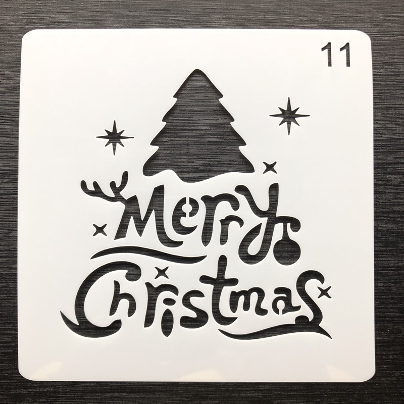 Reusable Stencils of Merry Christmas Text Made in USA Merry Christmas Stencil