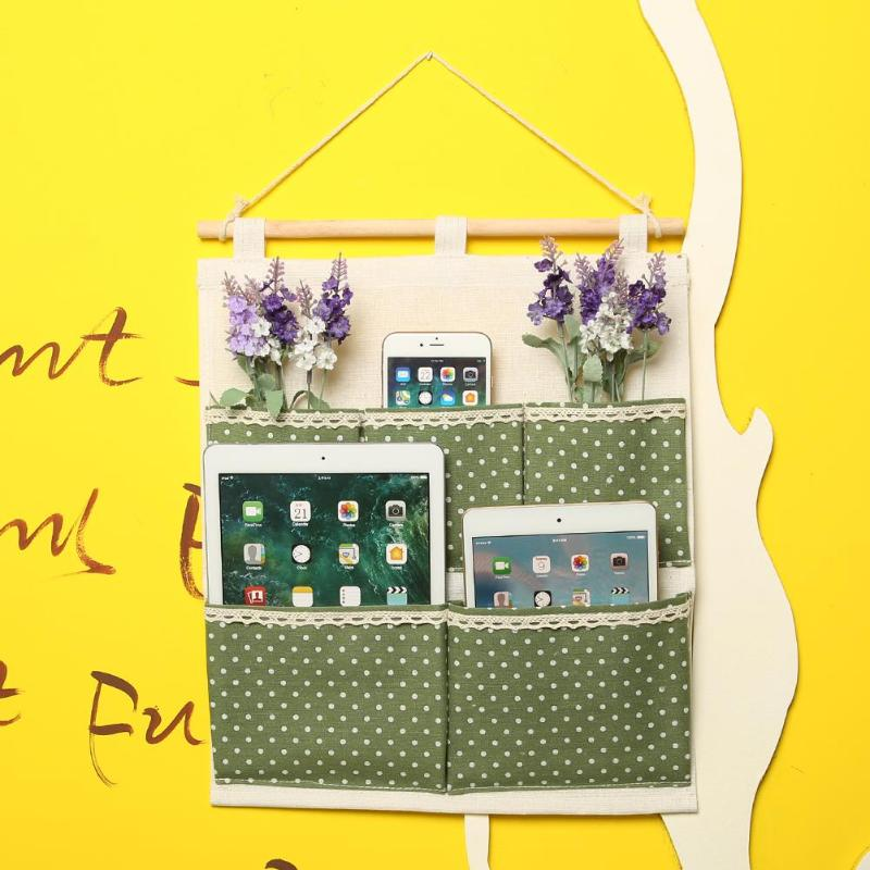 5 Pockets Cotton Linen Wall Hanging Storage Bag Kitchen Door Wardrobe Hang Pouch Cosmetic <font><b>Toys</b></font> Organizer image
